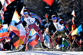 Anton Shipulin of Russia takes 1st place during the IBU Biathlon World Cup Men's and Women's Relay on January 24 2016 in AntholzAnterselva Italy
