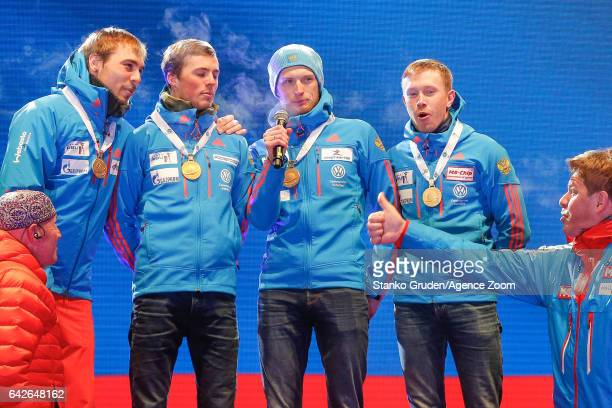 Anton Shipulin of Russia wins the gold medal Anton Babikov of Russia wins the gold medal Maxim Tsvetkov of Russia wins the gold medal Alexey Volkov...