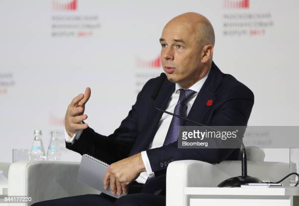 Anton Siluanov Russia's finance minister gestures as he speaks during a panel session at the Moscow Financial Forum in Moscow Russia on Friday Sept 8...