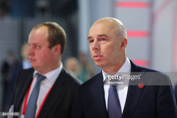 Anton Siluanov Russia's finance minister pauses between panel sessions at the Moscow Financial Forum in Moscow Russia on Friday Sept 8 2017 Russia...