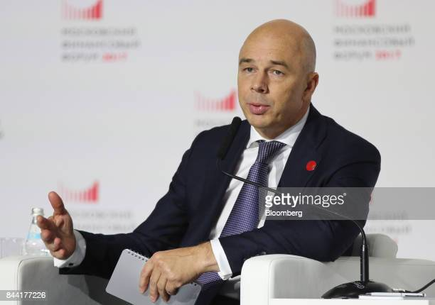 Anton Siluanov Russia's finance minister speaks during a panel session at the Moscow Financial Forum in Moscow Russia on Friday Sept 8 2017 Russia...