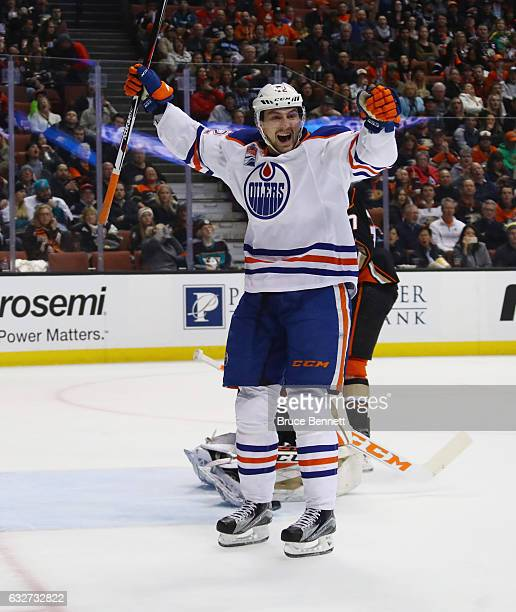 Anton Slepyshev of the Edmonton Oilers celebrates a second period goal by Milan Lucic against the Anaheim Ducks at the Honda Center on January 25...