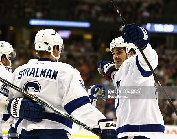 Anton Stralman and Brian Boyle of the Tampa Bay Lightning celebrate Stralman's tip in goal of a Boyle shot at 431 of the second period at the Honda...