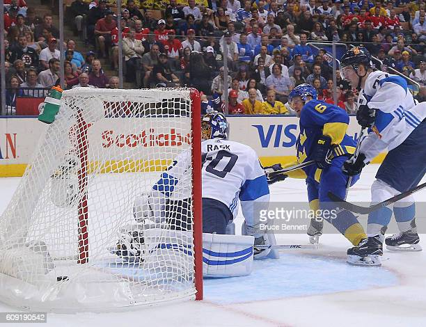 Anton Stralman of Team Sweden scores a second period goal against Tuukka Rask of Team Finland during the World Cup of Hockey tournament at the Air...