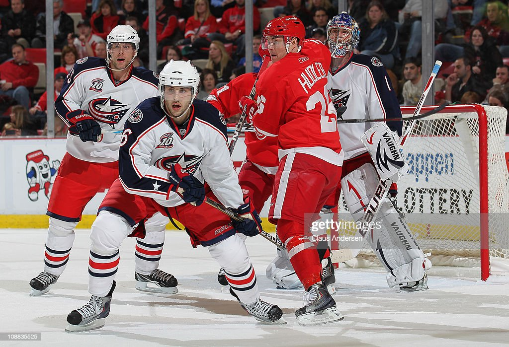 <a gi-track='captionPersonalityLinkClicked' href=/galleries/search?phrase=Anton+Stralman&family=editorial&specificpeople=2271901 ng-click='$event.stopPropagation()'>Anton Stralman</a> #6 of the Columbus Blue Jackets holds <a gi-track='captionPersonalityLinkClicked' href=/galleries/search?phrase=Jiri+Hudler&family=editorial&specificpeople=2118675 ng-click='$event.stopPropagation()'>Jiri Hudler</a> #26 of the Detroit Red Wings in check in a game on February 4, 2011 at the Joe Louis Arena in Detroit, Michigan. The Blue Jackets defeated the Wings 3-0.