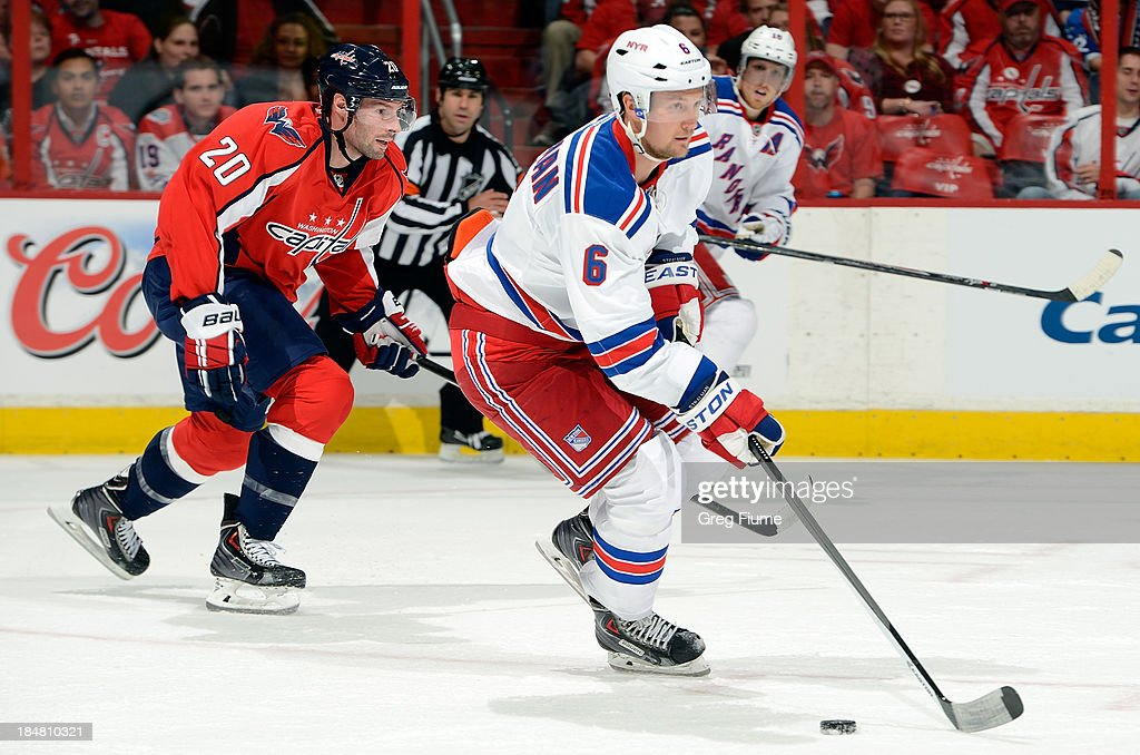 <a gi-track='captionPersonalityLinkClicked' href=/galleries/search?phrase=Anton+Stralman&family=editorial&specificpeople=2271901 ng-click='$event.stopPropagation()'>Anton Stralman</a> #6 of the New York Rangers handles the puck in the first period against the Washington Capitals at the Verizon Center on October 16, 2013 in Washington, DC.