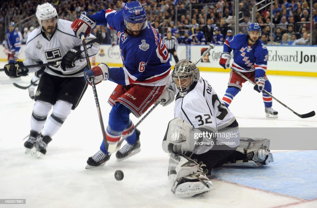 <a gi-track='captionPersonalityLinkClicked' href=/galleries/search?phrase=Anton+Stralman&family=editorial&specificpeople=2271901 ng-click='$event.stopPropagation()'>Anton Stralman</a> #6 of the New York Rangers looks to get the puck past goaltender <a gi-track='captionPersonalityLinkClicked' href=/galleries/search?phrase=Jonathan+Quick&family=editorial&specificpeople=2271852 ng-click='$event.stopPropagation()'>Jonathan Quick</a> #32 of the Los Angeles Kings during the second period of Game Three of the 2014 Stanley Cup Final at Madison Square Garden on June 9, 2014 in New York City.