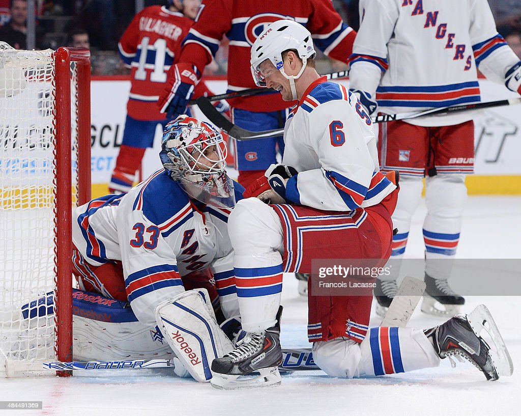 <a gi-track='captionPersonalityLinkClicked' href=/galleries/search?phrase=Anton+Stralman&family=editorial&specificpeople=2271901 ng-click='$event.stopPropagation()'>Anton Stralman</a> #6 of the New York Rangers talks with goalie <a gi-track='captionPersonalityLinkClicked' href=/galleries/search?phrase=Cam+Talbot&family=editorial&specificpeople=7185126 ng-click='$event.stopPropagation()'>Cam Talbot</a> #33 in front of <a gi-track='captionPersonalityLinkClicked' href=/galleries/search?phrase=Rene+Bourque&family=editorial&specificpeople=685715 ng-click='$event.stopPropagation()'>Rene Bourque</a> #17 of the Montreal Canadiens during the NHL game on April 12, 2014 at the Bell Centre in Montreal, Quebec, Canada.