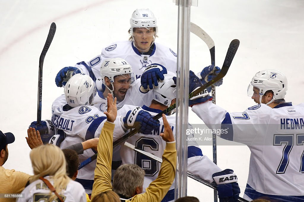 <a gi-track='captionPersonalityLinkClicked' href=/galleries/search?phrase=Anton+Stralman&family=editorial&specificpeople=2271901 ng-click='$event.stopPropagation()'>Anton Stralman</a> #6 of the Tampa Bay Lightning celebrates with his teammates after scoring a goal against Matt Murray #30 of the Pittsburgh Penguins during the first period in Game Two of the Eastern Conference Final during the 2016 NHL Stanley Cup Playoffs at the Consol Energy Center on May 16, 2016 in Pittsburgh, Pennsylvania.
