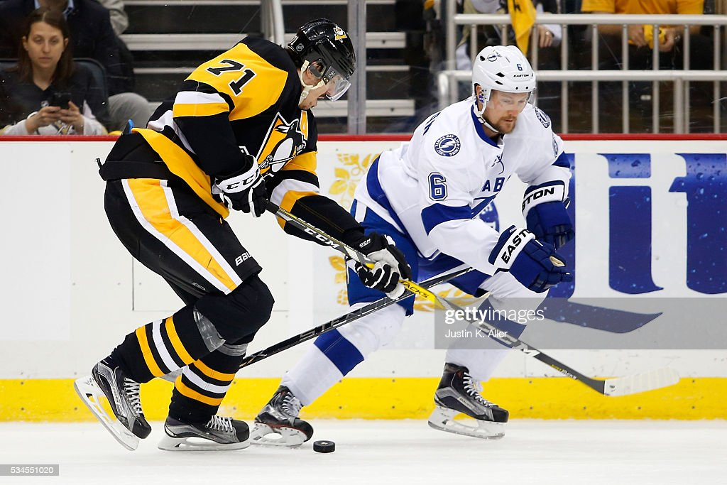 <a gi-track='captionPersonalityLinkClicked' href=/galleries/search?phrase=Anton+Stralman&family=editorial&specificpeople=2271901 ng-click='$event.stopPropagation()'>Anton Stralman</a> #6 of the Tampa Bay Lightning skates for the puck against <a gi-track='captionPersonalityLinkClicked' href=/galleries/search?phrase=Evgeni+Malkin&family=editorial&specificpeople=221676 ng-click='$event.stopPropagation()'>Evgeni Malkin</a> #71 of the Pittsburgh Penguins during the first period in Game Seven of the Eastern Conference Final during the 2016 NHL Stanley Cup Playoffs at Consol Energy Center on May 26, 2016 in Pittsburgh, Pennsylvania.