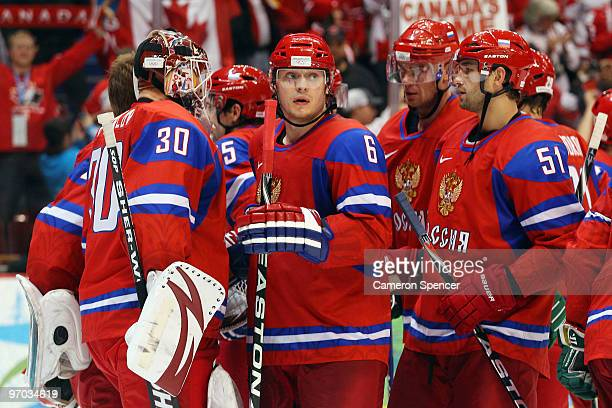 Anton Volchenkov of Russia reacts after the ice hockey men's quarter final game between Russia and Canada on day 13 of the Vancouver 2010 Winter...