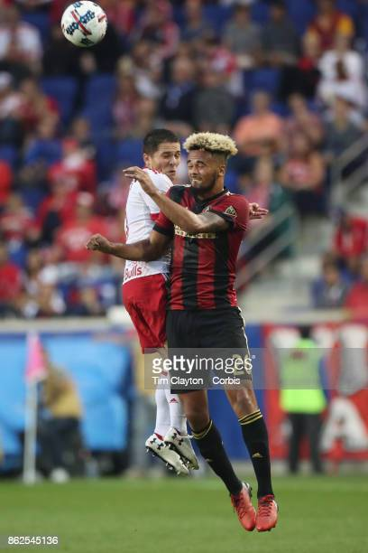 Anton Walkes of Atlanta United and Connor Lade of New York Red Bulls challenge for the ball during the New York Red Bulls Vs Atlanta United FC MLS...