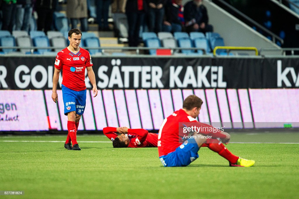 Anton Wede of Helsingborgs IF and Darijan Bojanic of Helsingborgs IF is dejected after the Allsvenskan match between IFK Norrkoping and Helsingborgs IF at Ostgotaporten on May 2, 2016 in Norrkoping, Sweden.