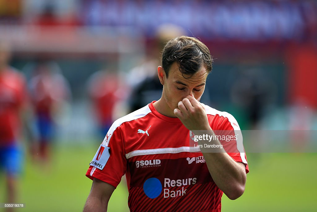 Anton Wede of Helsingborgs IF during the Allsvenskan match between Helsingborgs IF and IFK Goteborg at Olympia on May 29, 2016 in Helsingborg, Sweden.