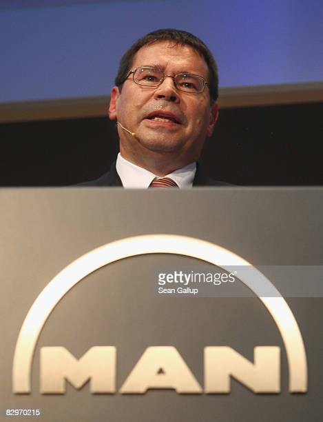 Anton Weinmann Chairman of German bus and truck maker MAN Commercial Vehicles speaks to the media at the MAN press conference at the IAA commercial...