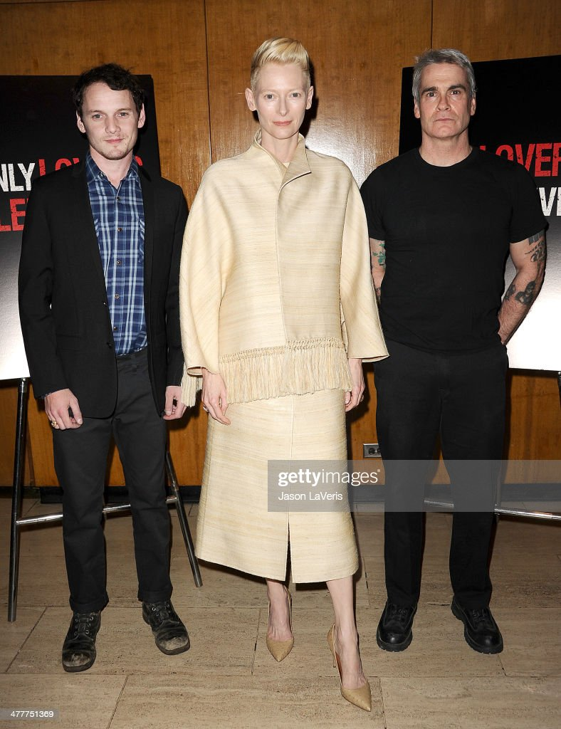 <a gi-track='captionPersonalityLinkClicked' href=/galleries/search?phrase=Anton+Yelchin&family=editorial&specificpeople=793274 ng-click='$event.stopPropagation()'>Anton Yelchin</a>, <a gi-track='captionPersonalityLinkClicked' href=/galleries/search?phrase=Tilda+Swinton&family=editorial&specificpeople=202991 ng-click='$event.stopPropagation()'>Tilda Swinton</a> and <a gi-track='captionPersonalityLinkClicked' href=/galleries/search?phrase=Henry+Rollins&family=editorial&specificpeople=220499 ng-click='$event.stopPropagation()'>Henry Rollins</a> attend the Academy of Motion Picture Arts & Sciences screening of 'Only Lovers Left Alive' at Bing Theatre At LACMA on March 10, 2014 in Los Angeles, California.