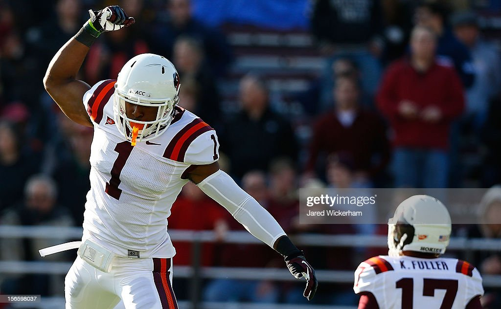 Antone Exum #1 of the Virginia Tech Hokies reacts after a defensive stop against the Boston College Eagles during the game on November 17, 2012 at Alumni Stadium in Chestnut Hill, Massachusetts.