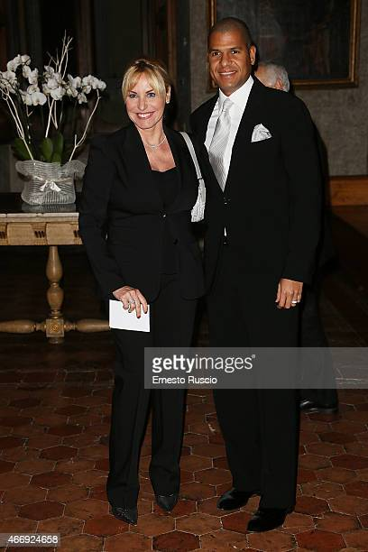 Antonella Clerici and Eddy Martens attend the 'Gout De France / Good France' Gala Dinner at the France's embassy Palazzo Farnese on March 19 2015 in...