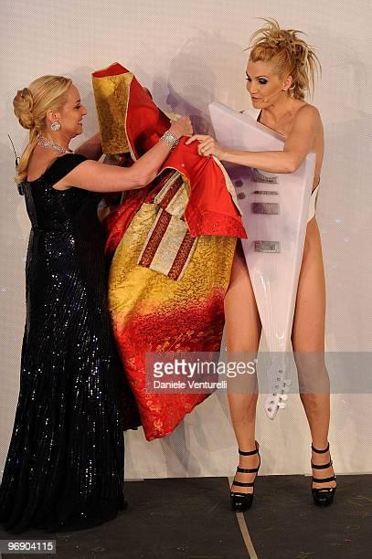 Antonella Clerici and Lorella Cuccarini attends the 60th Sanremo Song Festival at the Ariston Theatre On February 20 2010 in San Remo Italy