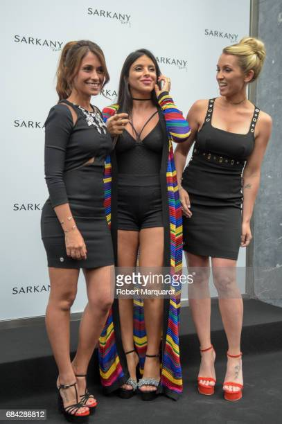 Antonella Roccuzzo Daniella Semaan and Sofia Balbi attend a photocall for the new Sarkany Boutique opening on May 17 2017 in Barcelona Spain