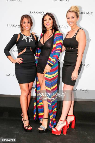 Antonella Roccuzzo Daniella Semaan and Sofia Balbin pose for a photocall of Sarkany Shoes Boutique Openeing in Barcelona on May 17 2017 in Barcelona...