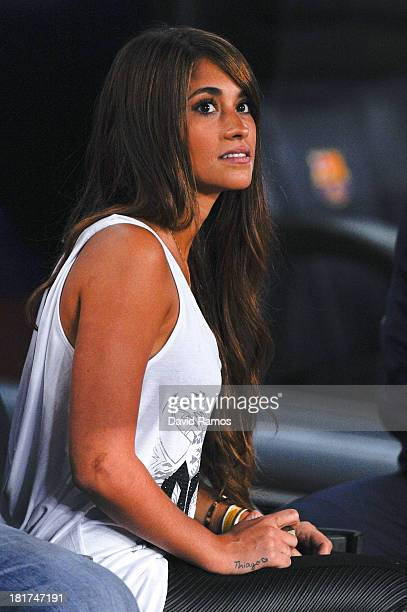 Antonella Roccuzzo looks on prior to the La Liga match between FC Barcelona and Real Sociedad de Futbol at Camp Nou on September 24 2013 in Barcelona...