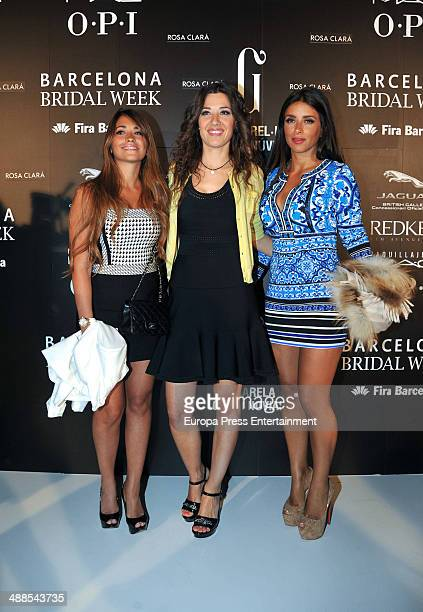 Antonella Roccuzzo Nuria Cunillera and Daniella Semaan attend the Rosa Clara fashion show during 'Barcelona Bridal Week 2014' on May 6 2014 in...