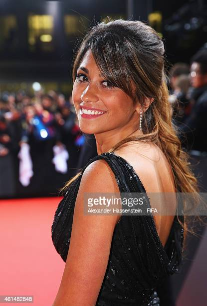 Antonella Roccuzzo partner of FIFA Ballon d'Or nominee Lionel Messi of Argentina and Barcelona arrives at the FIFA Ballon d'Or Gala 2014 at the...