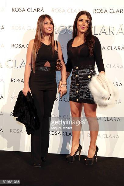 Antonella Rocuzzo and Daniela Samaan pose during a photocall for Rosa Clara's bridal fashion show during 'Barcelona Bridal Fashion Week 2016' at Fira...