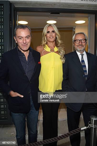 Antonello Sarno Tiziana Rocca and Roberto Cicutto attend a photocall for 'Venezia Pop By Antonello Sarno' during the 72nd Venice Film Festival on...