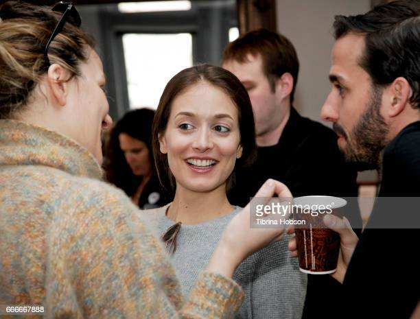 Antoneta Alamat Kusijanovic Alexandra Liveris and Fabio Friedli attend the filmmakers breakfast session at the 2017 Aspen Shortsfest on April 9 2017...