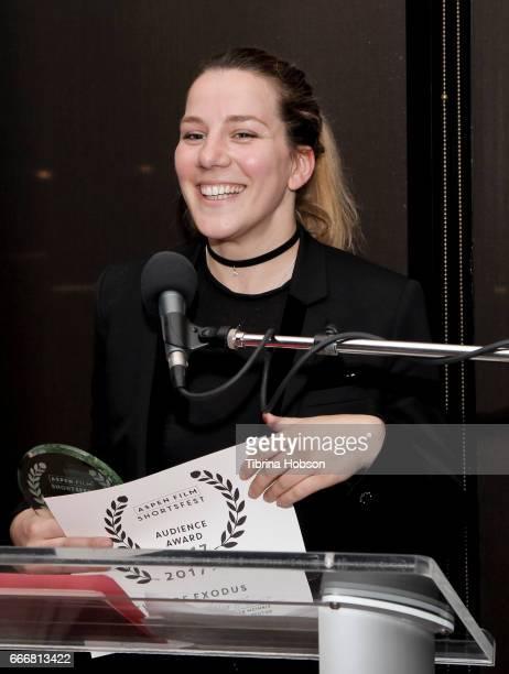 Antoneta Alamat Kusijanovic wins the Audience Award at the 2017 Aspen Shortsfest Awards Dinner on April 9 2017 at Aspen Kitchen in Aspen Colorado