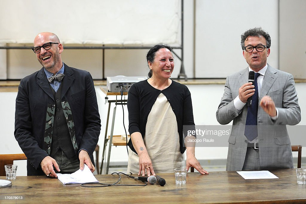 Antoni Marras, Francesca Alfano Miglietti and Franco Marrocco attend Antonio Marras Receives Honorary Degree From Academy of Fine Arts of Brera on June 12, 2013 in Milan, Italy.