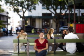 Antonia Arroyo sits on a bench on November 14 2013 in San Juan Puerto Rico After working for the Municipality of San Juan for 35 years she lives of...