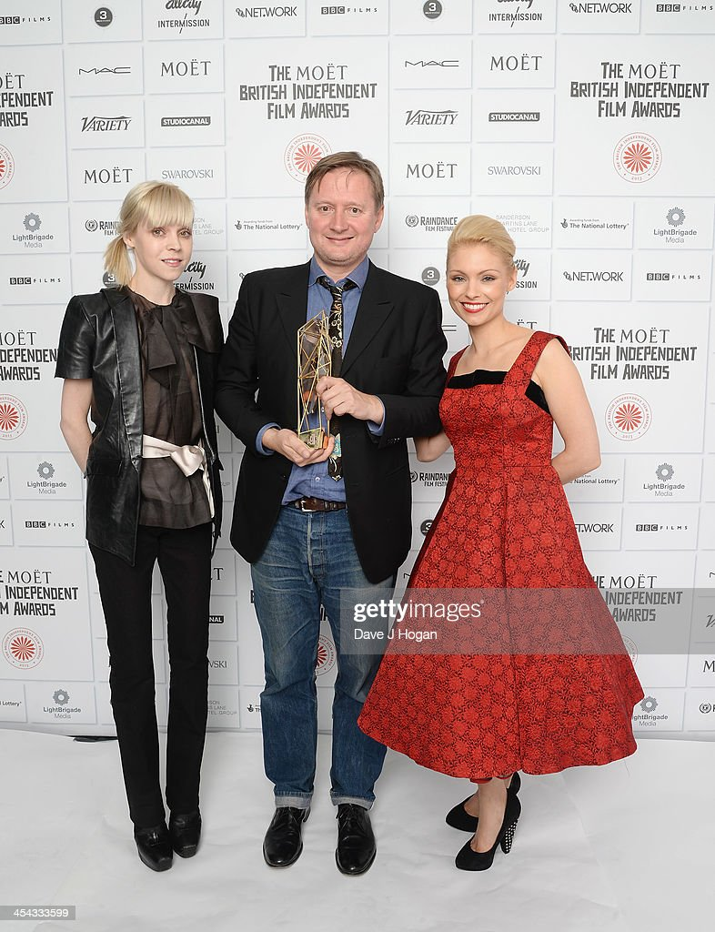 Antonia Campbell Hughes, David Mackenzie Winner of the Best Supporting Actor and MyAnna Buring attend the Moet British Independent Film Awards 2013 at Old Billingsgate Market on December 8, 2013 in London, England.