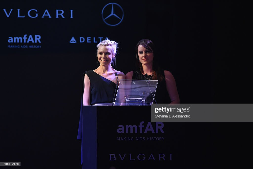 Antonia Campbell-hughes and <a gi-track='captionPersonalityLinkClicked' href=/galleries/search?phrase=Michelle+Ryan&family=editorial&specificpeople=211201 ng-click='$event.stopPropagation()'>Michelle Ryan</a> attend the amfAR Milano 2014 - Gala Dinner and Auction as part of Milan Fashion Week Womenswear Spring/Summer 2015 on September 20, 2014 in Milan, Italy.