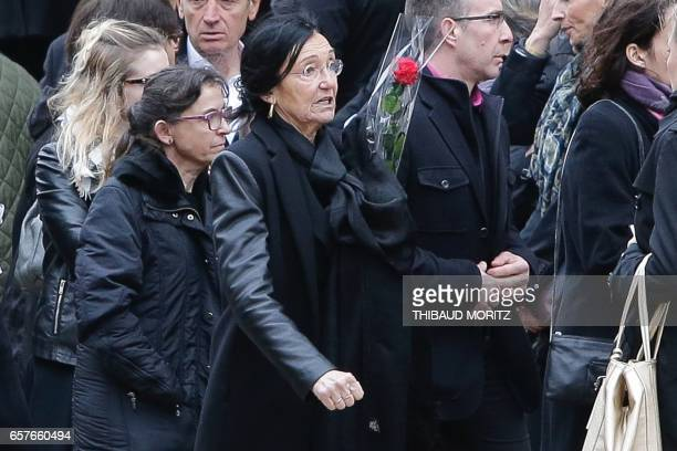 Antonia Emmanuelli the widow of French Socialist Party's politician Henri Emmanuelli leaves the Madeleine church during his funeral on March 25 2017...
