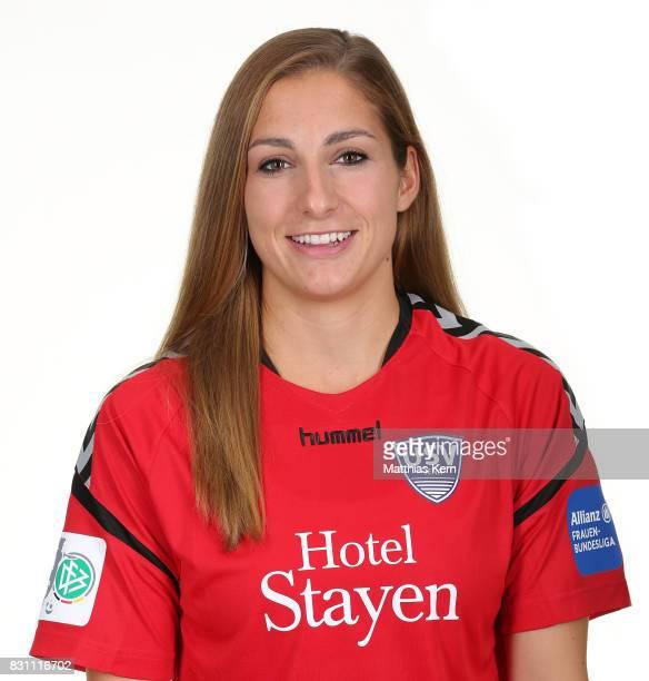 Antonia Knupfer of FF USV Jena poses during the Allianz Frauen Bundesliga Club Tour at Ernst Abbe Sportfeld on August 11 2017 in Jena Germany