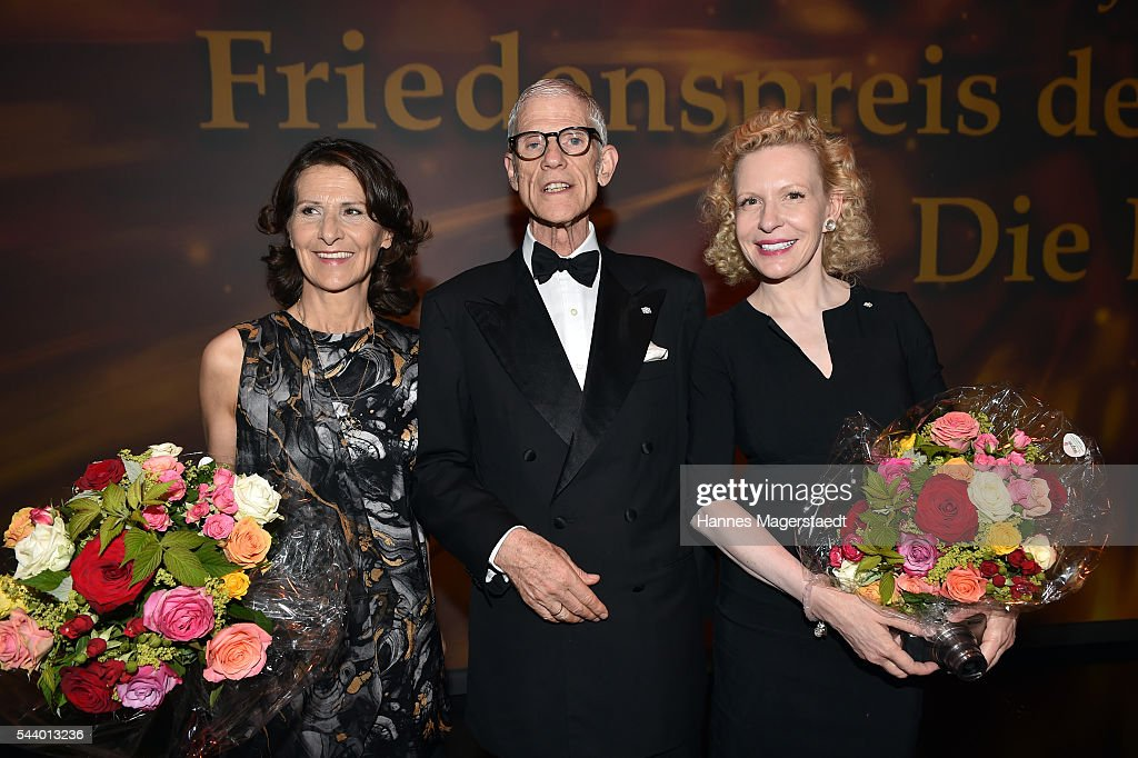 Antonia Rados, Sir Peter Jonas and Sunnyi Melles attend the Bernhard Wicki Award (Friedenspreis des Deutschen Films) during the Munich Film Festival 2016 at Cuvilles Theatre on June 30, 2016 in Munich, Germany.