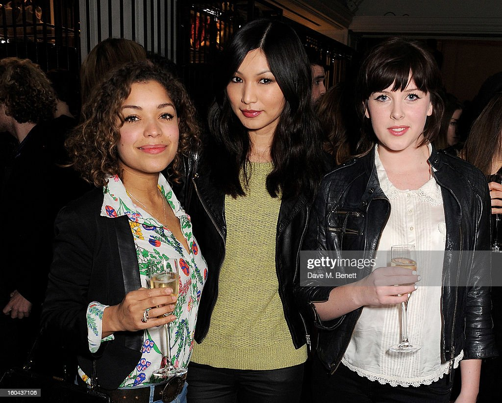 Antonia Thomas, Gemma Chan and Alexandra Roach attend the Burberry Live at 121 Regent Street event on January 31, 2013 in London, England.