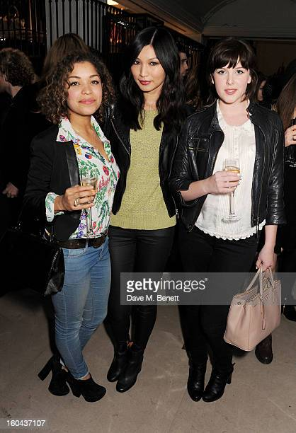 Antonia Thomas Gemma Chan and Alexandra Roach attend the Burberry Live at 121 Regent Street event on January 31 2013 in London England