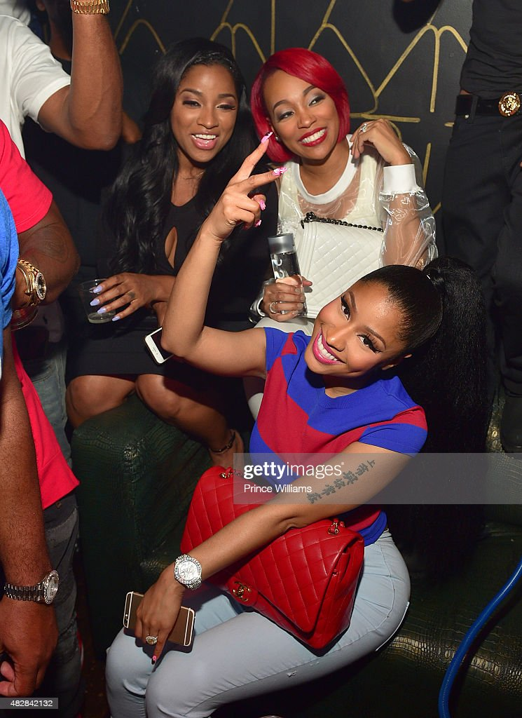Antonia 'Toya' Wright Monica Brown and Nicki Minaj attend the Pinkprint Tour after party at XS Lounge on August 2 2015 in Atlanta Georgia