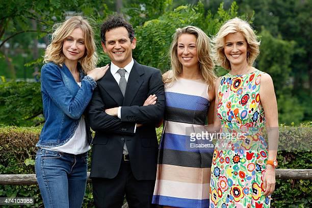 Antonia Varini Alessio Zucchini Mia Ceran and Livia Azzariti attend 'Uno Mattina Estate' Tv Show photocall at RAI on May 20 2015 in Rome Italy
