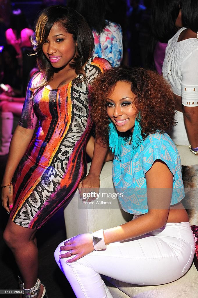 Antonia Wright and Keri Hilson attend a party hosted by Fabolous and Cassie at Prive on June 21, 2013 in Atlanta, Georgia.