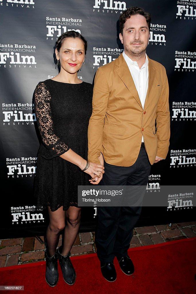 Antonia Zegers and Pablo Larrain attend the 28th Santa Barbara International Film Festival 'No' premiere at Lobero Theatre on January 26 2013 in...