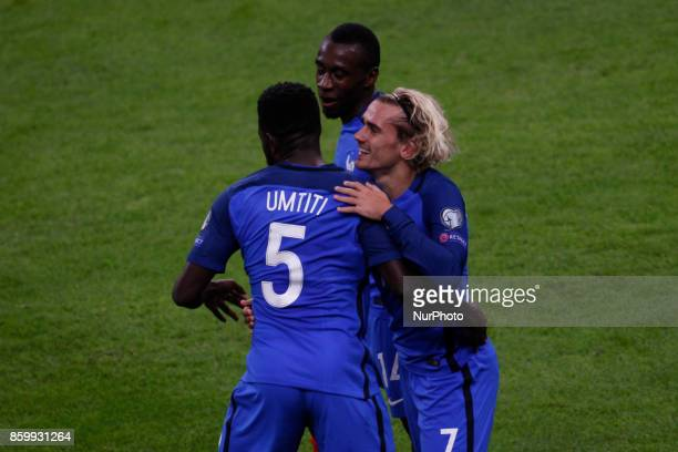 Antonie Griezmann Samuel Umtiti and Blaise Matuidi of France celebrate during the Fifa 2018 World Cup qualifying match between France and Belarus on...