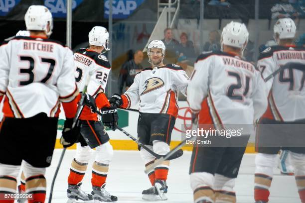 Antonie Vermette of the Anaheim Ducks reacts after shooting the game winning shootout goal against the San Jose Sharks at SAP Center on November 20...