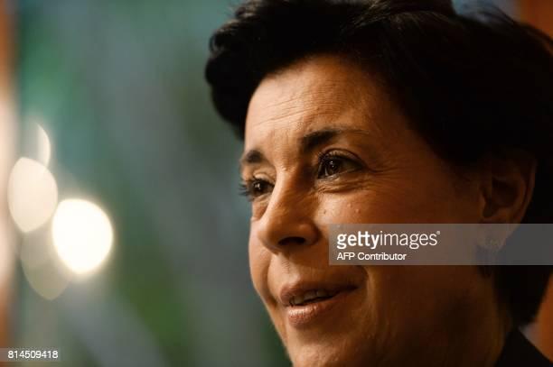 Antonieta Mendoza mother of Venezuelan opposition leader Leopoldo Lopez gestures as he speaks during an interview with AFP in Caracas on July 13 2017...