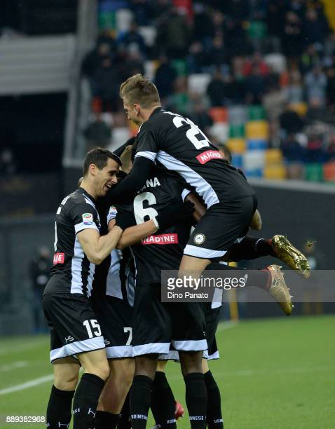 Antonin Barak of Udinese Calcio is mobbed by team mates after scoring his opening goal during the Serie A match between Udinese Calcio and Benevento...