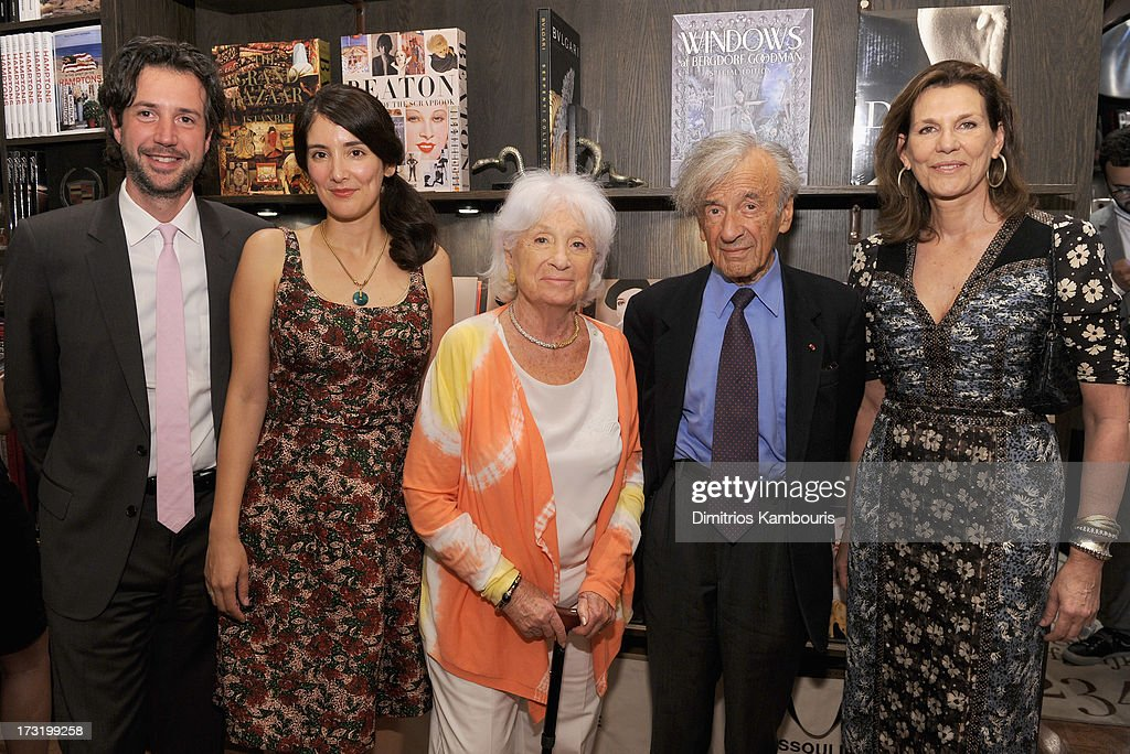 Antonin Baudry, Berenice Vila Baudry, Marion Wiesel, <a gi-track='captionPersonalityLinkClicked' href=/galleries/search?phrase=Elie+Wiesel&family=editorial&specificpeople=210800 ng-click='$event.stopPropagation()'>Elie Wiesel</a> and Martine Assouline attend Martine and Prosper Assouline host book signing for author Berenice Vila Baudry's 'French Style' with the Ambassador of France Francois Delattre at Assouline at The Plaza Hotel on July 9, 2013 in New York City.